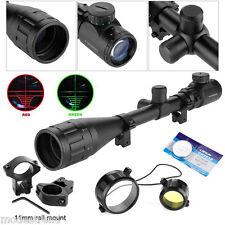 6~24X Telescopic Sight Green/Red Hunting Rifle Illuminated Optic Laser Gun Scope