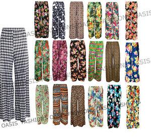 Ladies-Plus-Size-Womens-Floral-Plain-Print-Wide-Leg-Palazzo-Trousers-Pants-10-26