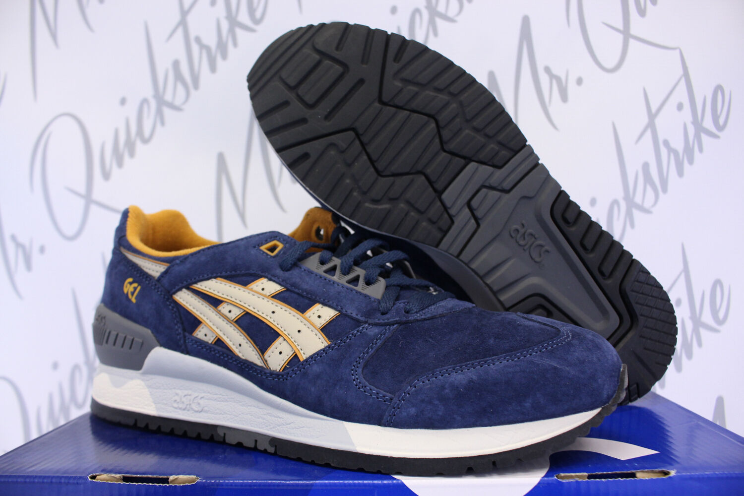 ASICS GEL CASUAL RESPECTOR SZ 7 PREMIUM CASUAL GEL PACK NAVY SAND H5X2L 5005 a61901