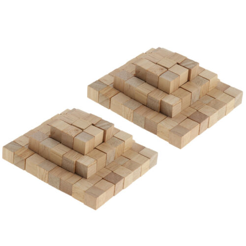 200 Pieces Natural Wooden Square Cubes Building Blocks Kids Math Puzzle Toy