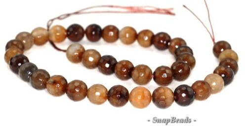 """12MM COFFEE AGATE GEMSTONE LIGHT BROWN FACETED ROUND 12MM LOOSE BEADS 15/"""""""
