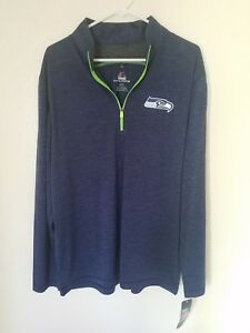 New New NFL Seattle Seahawks Majestic Men's Quarter Zip Pullover  for sale
