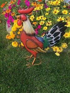 New Colorful Rooster Large Metal Yard Art 22 Beautiful Ebay