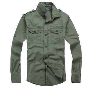 800e24e5b54f Men Casual Military Style Long Sleeve Cotton Khaki Cargo Jean Shirt ...