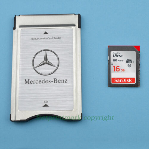 PCMCIA TO SD SDHC CARD Adapter for Mercedes-Benz+SANDISK 16G 80MBS SD Upgrade