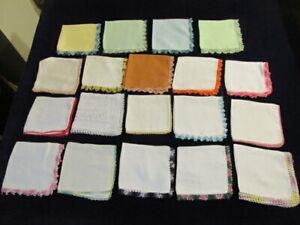 19 Vintage Ladies Tatted Edge Handkerchiefs Hankies all UNUSED Tatting Lot D1e