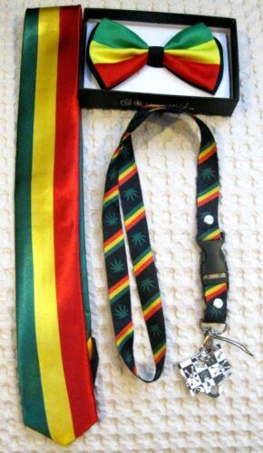 Rasta Stripes Bow Tie,RASTA Adjustable Suspenders,/& Rasta Lanyard Combo-NEW