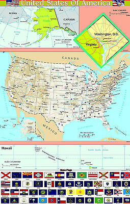 A2 laminated USA UNITED STATES of AMERICA  map wall chart poster FLAGS BOTTOM