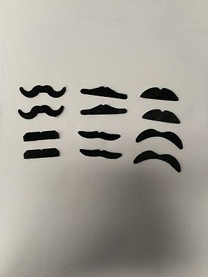 New Pack of 12 Sticky Adhesive Mustaches Dress Up Party Favors Black FREE SHIP