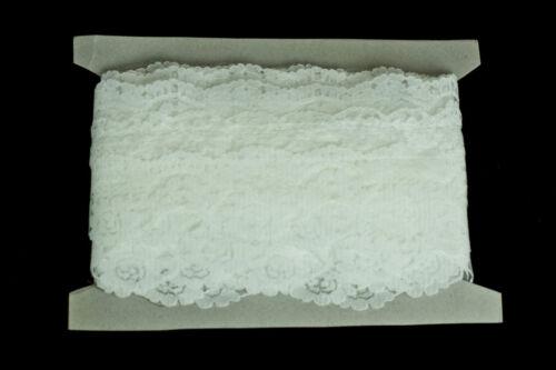 10 metros × 10 cm de ancho Ribete de Encaje Floral Blanco de Encaje en capas los bordes de vieira//