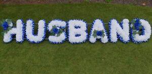 Artificial-Silk-Funeral-Flower-Wreath-Husband-7-Letter-Floral-Tribute-Memorial