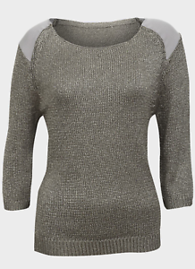Ex UK Store Ladies Knitted Jumper Metallic Grey Sizes M /& L