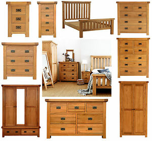 Chunky Solid Oak Bedroom Furniture Set Wardrobe Drawers Bedside Bed ...