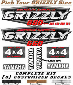 Details about Yamaha Grizzly OEM ATV Tank Decal Graphic Sticker Kit 350 450  550 660 700 4x4