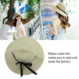 8625d1a3f Details about Hot Women's Wide Brim Summer Beach Sun Hat Straw floppy  Elegant Bohemia cap BE