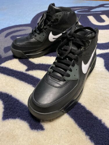 08 NIKE AIR MAX 90 SNEAKER BOOTS BLACK Leather  Sz