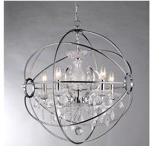 NEW Modern 4 Light Orb Ball Crystal Chrome Chandelier