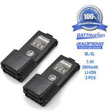 2 x BAOFENG Pofung BL-5L 3800mAh 7.4V Extended Li-Ion Battery for UV-5R Radio