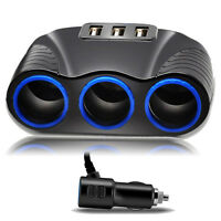 3 Way Car Cigarette Lighter Socket Splitter USB Charger Power Adapter DC 12V
