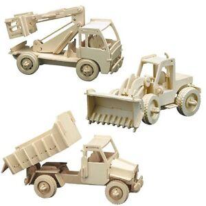 Holzbausatz 3tlg Baufahrzeuge Radlader, Hubwagen, Kipplader -3D Puzzle Modellbau