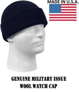5fbb4301d Details about Navy Blue 100% Wool Hat Winter Cap Knitted Military Watch Cap  USA Rothco 8493