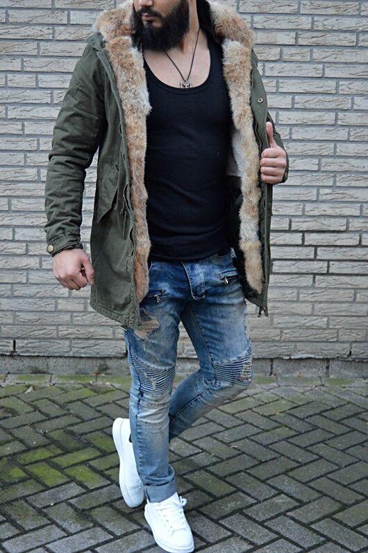 Uomo Prestigio Russia Parker Inverno Russia Prestigio Moda UK Stile Reale Pelo / affbb5