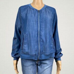 American-Eagle-Chambray-Blue-Bomber-Jacket-LARGE-Zip-Front-Pockets-Light-Weight