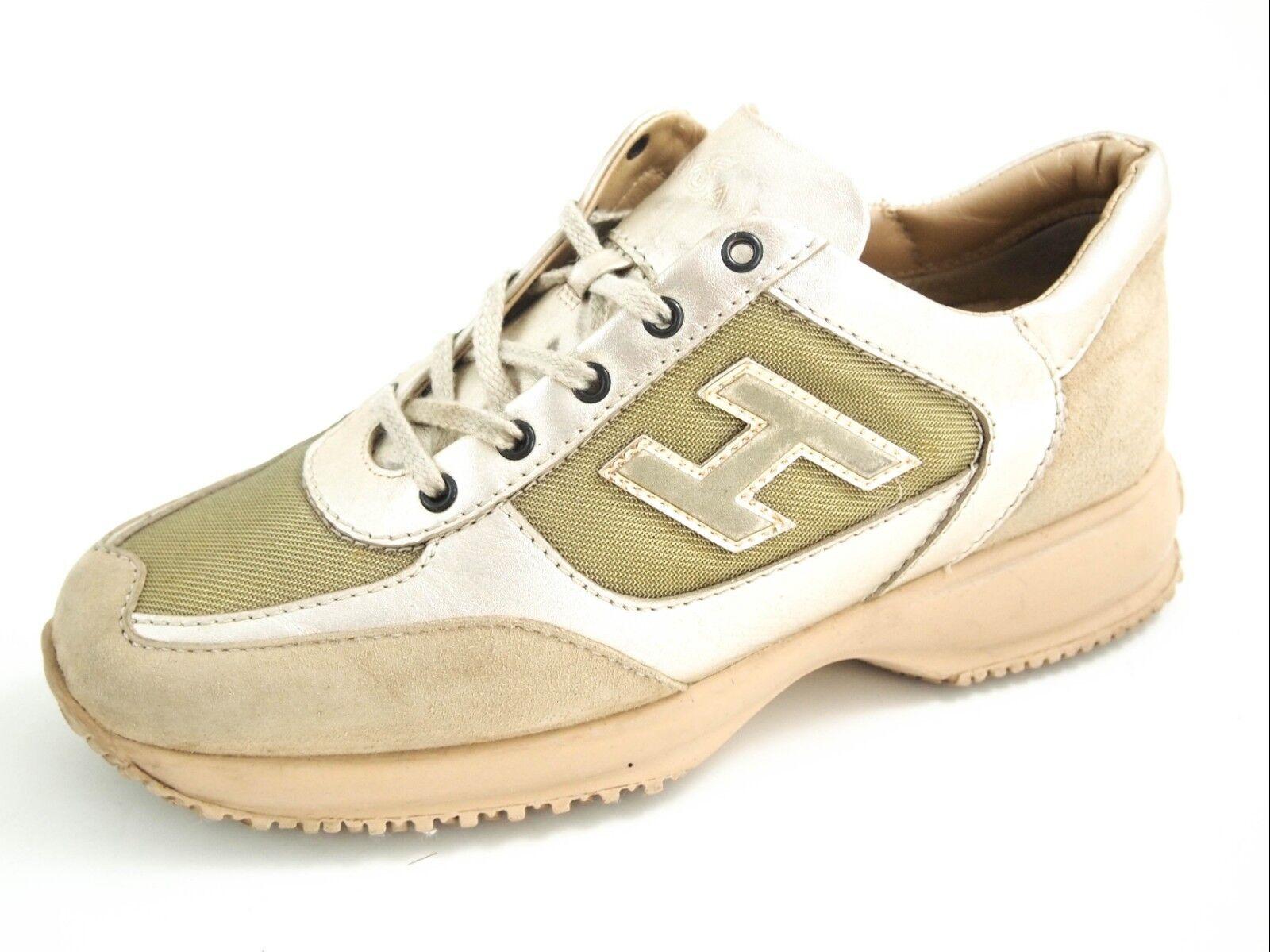 HOGAN  sneakers, green canvas beige suede, women's shoe size EU 35 US 4.5  380