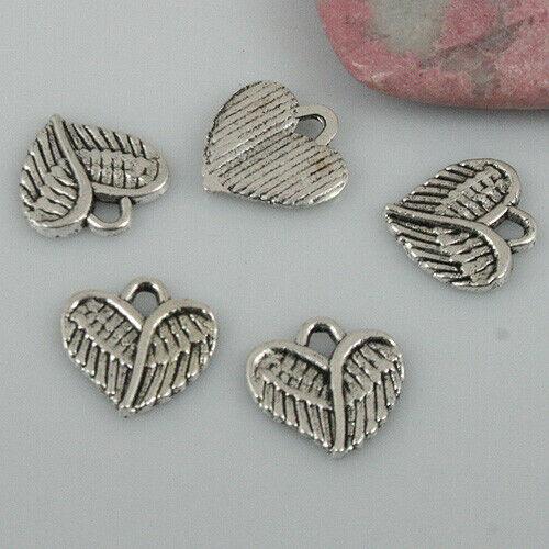 26pcs tibetan silver color heart shaped charms EF0516