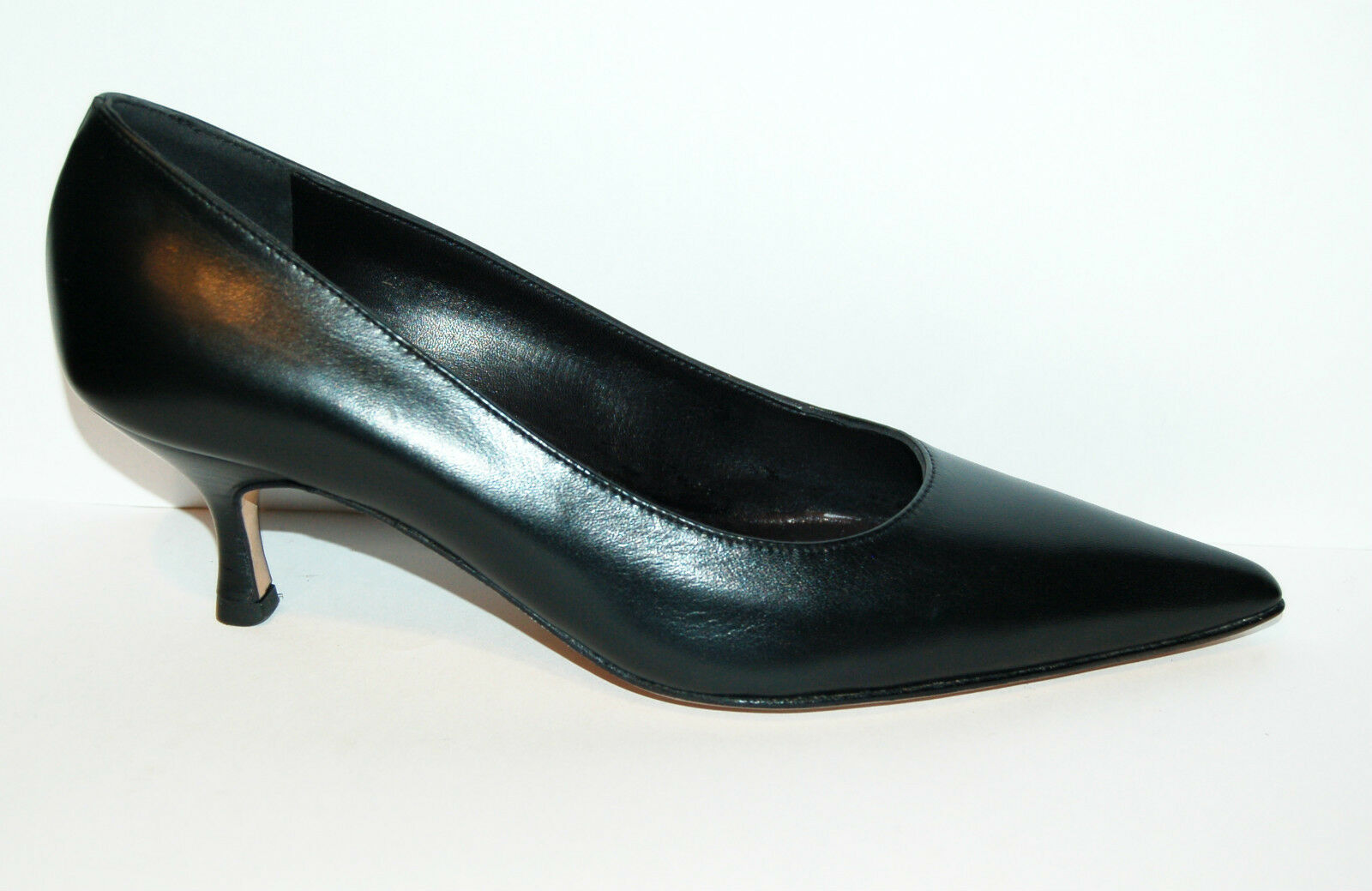 36eu - WOMAN POINTED PUMP - BLACK CALF - LEATHER SOLE - HEEL 5,5cm