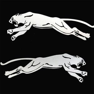 2x-Panther-Autocollant-Voiture-Moto-Gauche-Droite-en-miroir-Tigre-Sticker-argent