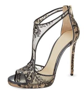 Womens Lace Floral  Pump Stilettos Pump Peep Toe Hollow Zipper High Heel shoes