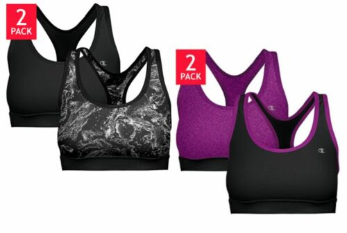 1023245 2 PACK CHAMPION LADIES DOUBLE DRY STRETCH SPORTS BRA REMOVABLE FOAM CUP