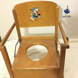 Vintage-Wooden-Folding-Potty-Chair-Duck-Painting-Nursery-Lift-up-Seat-Braces