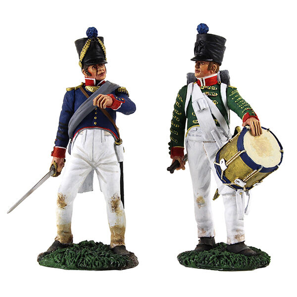 W Britain French Infantry Command Set - French Infantry Drummer and Line Officer