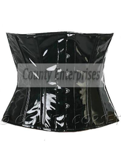 Waspie Shaper Cincher Taillen Full Steel Boned Waistbust Black PVC Vinyl Corset