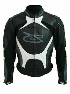 Giacca-Moto-Pelle-Racing-Giudici-Sportiva-Black-White-grey-S-M-L-XL-XXL-3XL-4XL