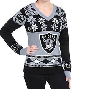 Oakland Raiders Nfl Womens V Neck Ugly Christmas Sweater Small Ebay