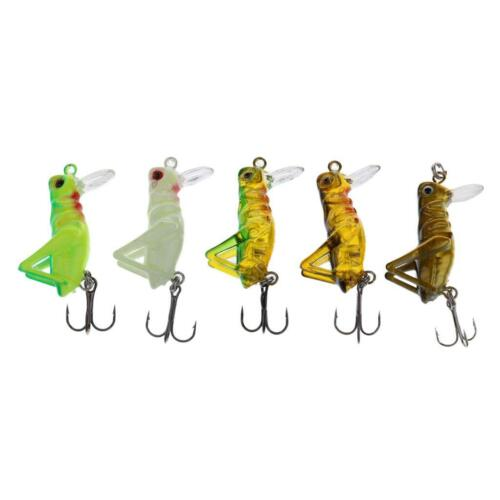 5Pcs Insect Grasshopper Shape Fishing Lure Hard Crank Baits with Treble Hook