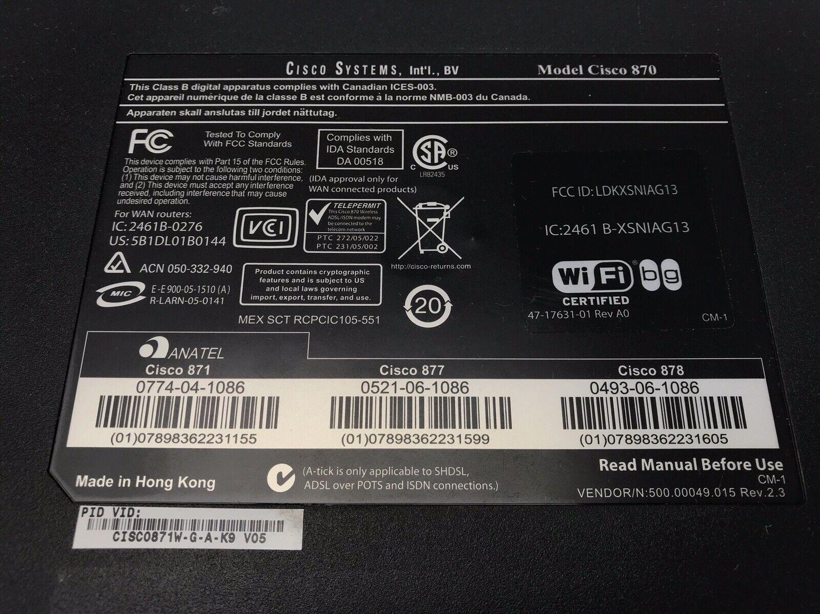 Cisco 871 4-Port 10/100 Wired Router (CISCO871-K9)