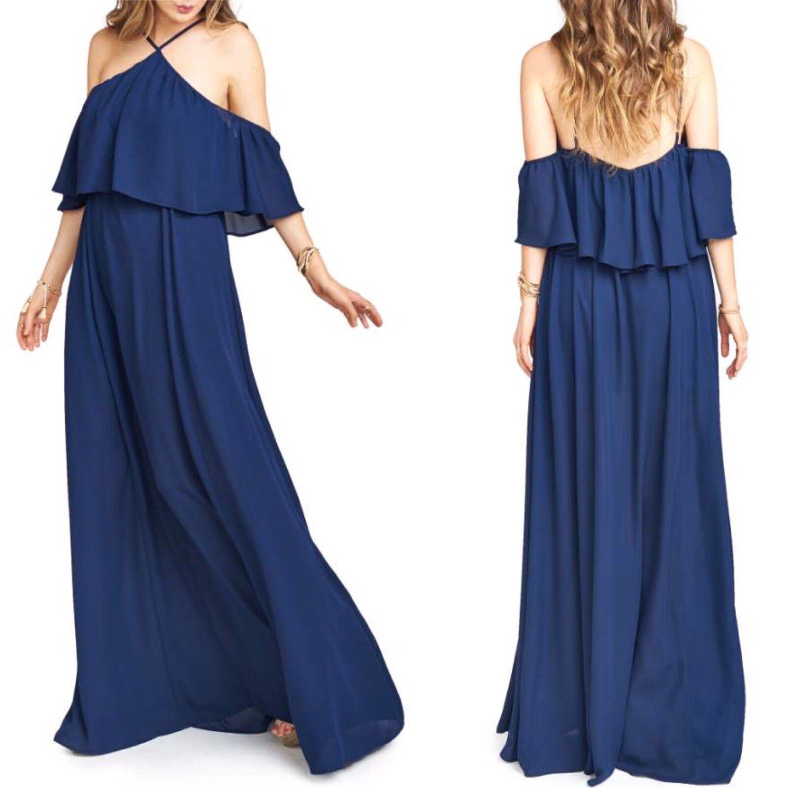 Show Me Your Mumu Rich Navy Rebecca Ruffle Maxi Dress Size S