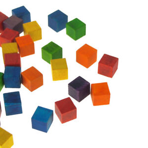 Details About Multi Colored Wooden Cube Blocks 1 2 Inch 36 Piece