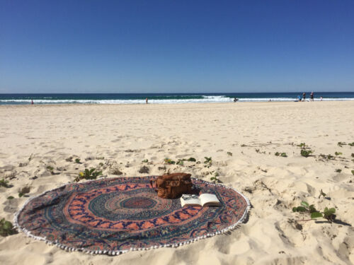 Indian Hippie Blue Mandala Round Roundie Beach Throw Tapestry Table Cover Decor