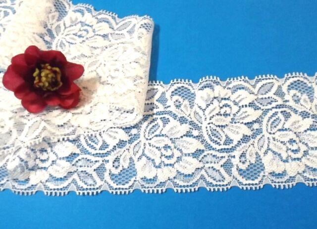 White Stretch Lace Trim 6.5 cm wide #6WE1B 1 metre
