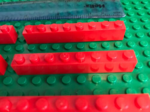 8 x RED 1 x 8 Pin Long Building Bricks LEGO Sale