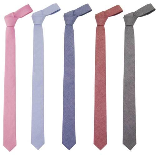 """100/% Cotton Solid Skinny Man/'s Necktie 2/"""" Tie Modern Trendy Slim Wedding Events"""