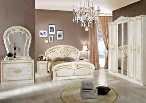 Dettagli su Camera da letto matrimoniale completa di rete a doghe modello  Crystal Beige