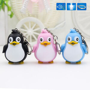 Lovely Penguin Shape LED Toys with Sound Mini Torch Flashlight  Kids Toy Gift