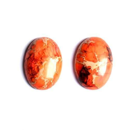 Impression Jasper Oval Cabochon 18x25mm Orange  Wire Wrapping Jewellery Making