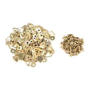 100X-Picture-Frame-HangTriangle-D-Rings-Frames-Hanger-Hooks-with-Gold-Screw-YJ